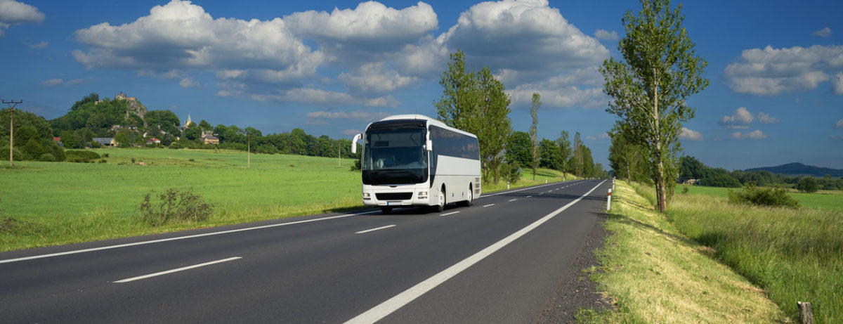 bus passing through rural area