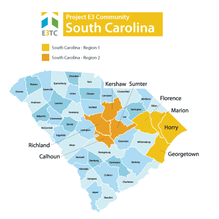 This map shows the Geographic Regions where Project E3 will provide technical assistance.