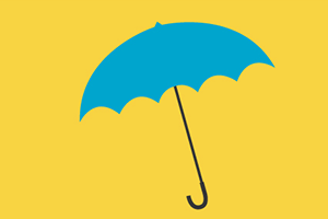 illustration of blue umbrella on yellow background